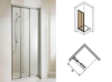 h ppe alpha gleitt r nische 3 teilig duschabtrennung power trade. Black Bedroom Furniture Sets. Home Design Ideas