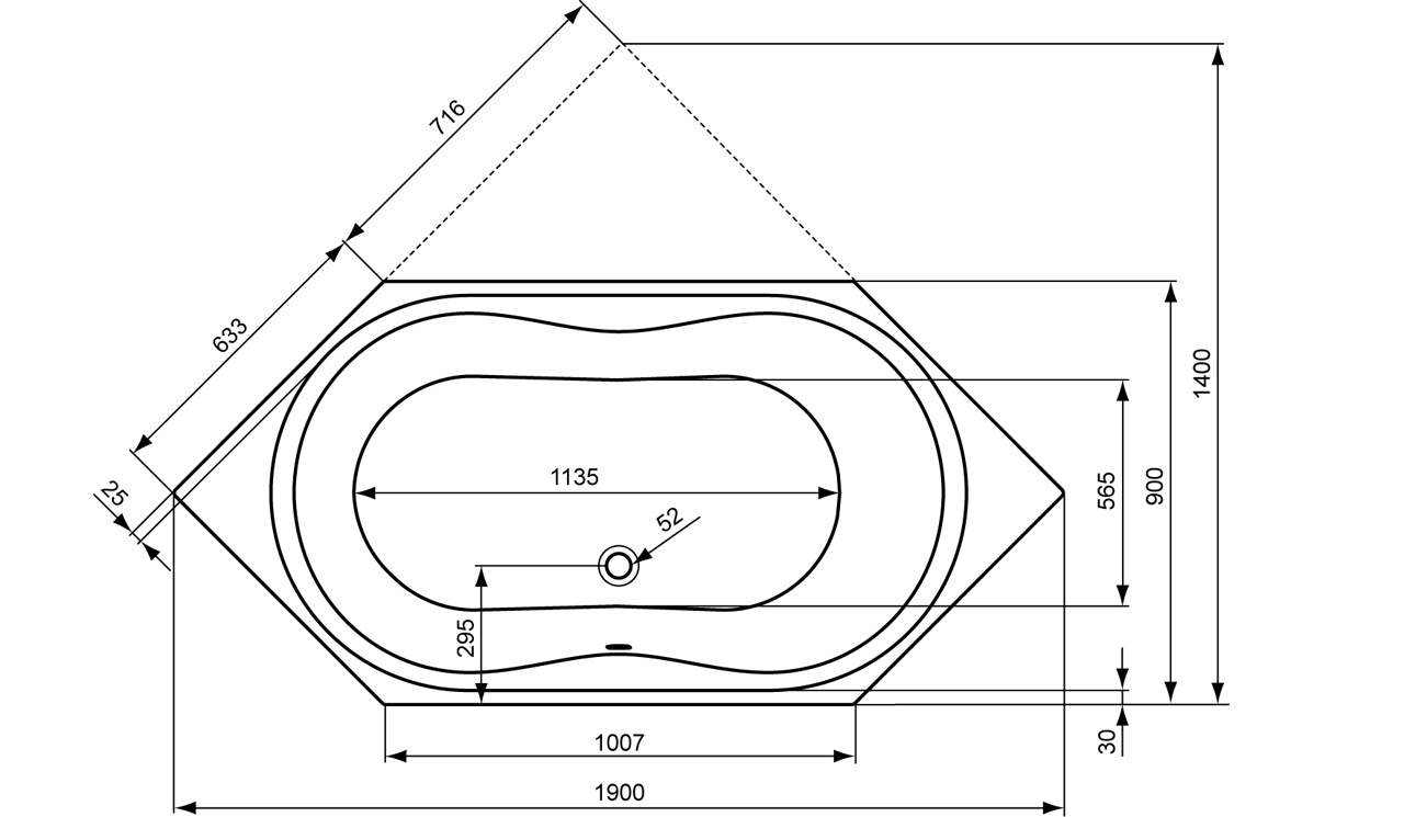 Badewanne maße standard  Ideal Standard Aqua - Sechseck-Badewanne - K621601 - POWer-Trade-Shop