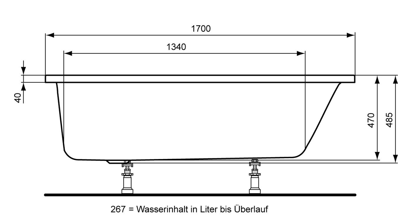 ideal standard aqua k rperform badewanne combi 170 x 80 cm k621901. Black Bedroom Furniture Sets. Home Design Ideas
